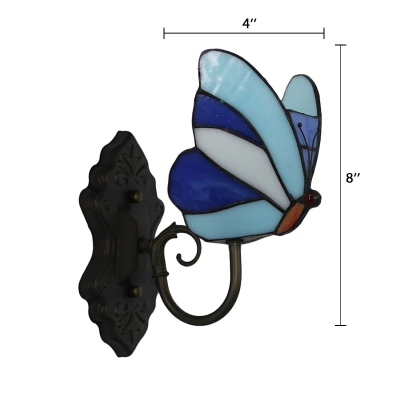 Butterfly Accent Wall Lamp Tiffany Style Wall Sconce Stained Glass in Blue/Yellow for Children Room