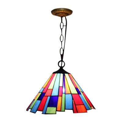 Colorful Tiffany Trapezoid Hanging Lamp Stained Glass Suspension Light for Coffee Shop
