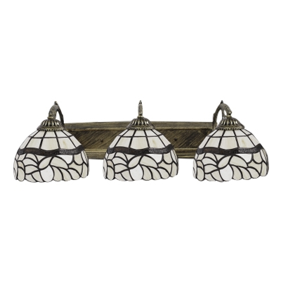 Curved Arm Wall Lamp Tiffany Traditional Stained Glass Triple Lights Wall Light in Beige