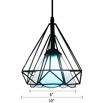 Diamond Cage Pendant Light Tiffany Style Blue/White Glass 1 Light Drop Ceiling Lighting