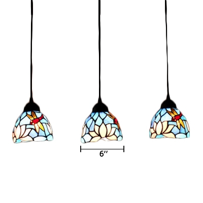 Dragonfly and Flower Drop Light Tiffany Style Stained Glass Triple Hanging Lamp in Blue/White