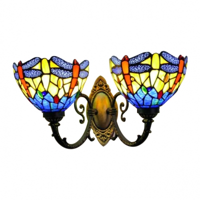 Dragonfly Bowl Wall Sconce Tiffany Stained Glass 2 Heads Wall Mount Light in Multi Color HL492761 фото