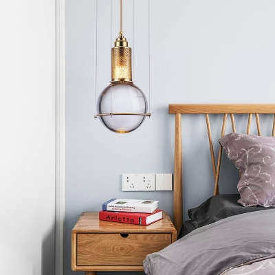 Fume Glass Sphere Pendant Lights Post Modern Style Gold Finish LED Bar Light