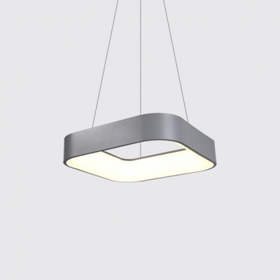 Metal Square Led Hanging Pendant Lights Contemporary 1 Light Lamp Fixture In Gray