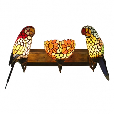 Multi Color Parrot Wall Sconce Tiffany Style Stained Glass Triple Head Decorative Wall Lamp