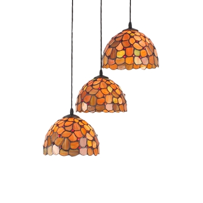 Orange Dome Hanging Light Tiffany Style Stained Glass 3 Heads Pendant Light for Hallway