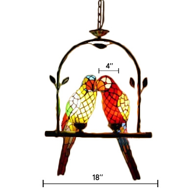 Stained Glass Parrot Suspended Light Tiffany Style 2 Heads Pendant Light with Arch Shelf