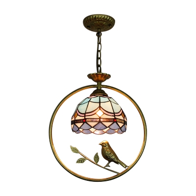 Tiffany Nautical Dome Suspended Light Blue Glass 1 Head Pendant Light with Bird