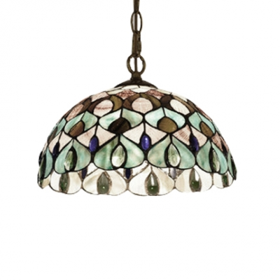 Turquoise Peacock Drop Light Tiffany Style Stained Glass 1 Light Decorative Hanging Light