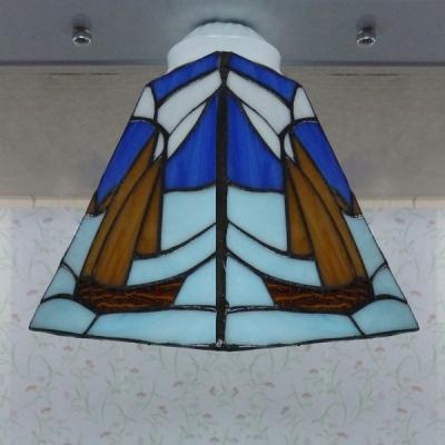 White Based Blue Sailboat Stained Glass Tiffany 3-light Semi Flush Mount Ceiling Light