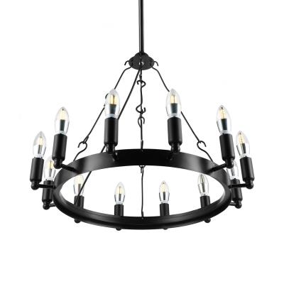 Wrought Iron 12 Light Chandelier in Industrial Style Black Finish Round Pendant Light for Restaurant Farmhouse