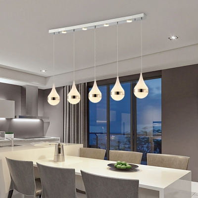 Wrought Iron Drop Pendant Light Simple Style White Glass Shade LED Ceiling Hanging Lights for Dining Room Bar Cafe