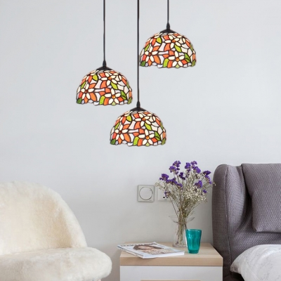 3 Lights Flower Pattern Suspension Light Tiffany Style Stained Glass Art Deco Hanging Lamp