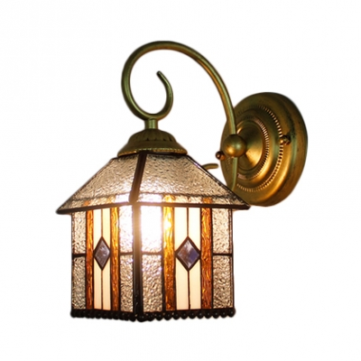 Lantern Shade Wall Lamp Craftsman Tiffany Style Rippled Glass Decorative Wall Sconce