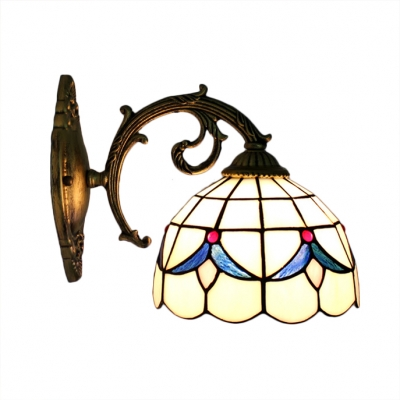 Beige Floral Wall Sconce Simple Tiffany Style Stained Glass Wall Light for Staircase Bathroom