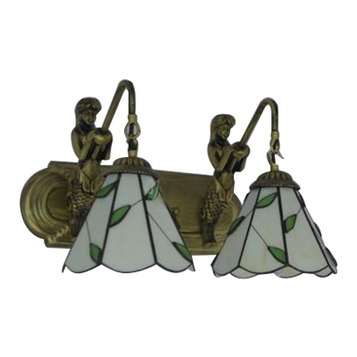 Beige Leaf Style Sconce Light Tiffany Style Stained Glass 2 Heads Wall Lighting for Corridor