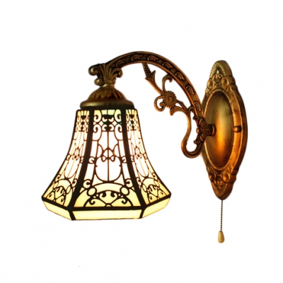 Bell Wall Sconce Lodge Tiffany Style Stained Glass Wall Lamp for Bedroom Hallway Bungalow