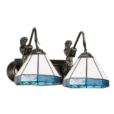 Blue Geometric Lighting Fixture Tiffany Craftsman Stained Glass 2 Heads Sconce Lighting