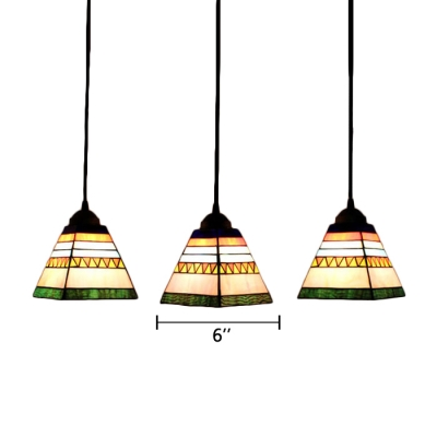 Blue/Pink Pyramid Hanging Lamp Tiffany Retro Style Stained Glass Accent Triple Pendant Light