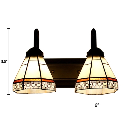 Geometric Wall Lamp Tiffany Style Stained Glass 2 Bulbs Wall Light Sconce in Red