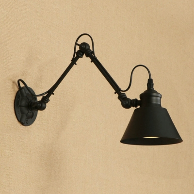 Industrial Concise Cone Wall Sconce Metal 1 Head Wall Mount Fixture in Black with Swing Arm