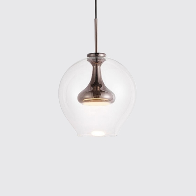 Nickel/Gold/Rose Copper Sphere Pendant Light Post Modern 1lt Suspension Lamp in Warm/White Light