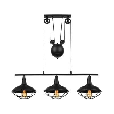 Pulley 3 Head Billiard Light In Balck Barn Shade With Wire Guard For