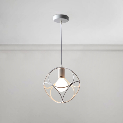 Single Head Floral Shaped Pendant Lamp Industrial Simple Iron Caged Hanging Light in White, HL491143