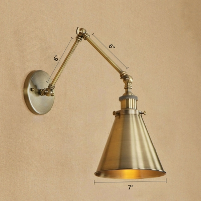 Single Light Coolie Wall Sconce Vintage Steel Wall Lighting in Bronze for Bedroom