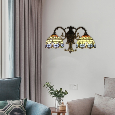 Stained Glass Bowl Sconce Light Baroque Style Double Heads Accent Wall Lighting in Blue