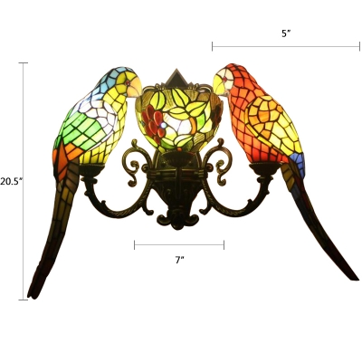Stained Glass Parrot Wall Light Tiffany Triple Light Sconce Lighting in Multicolor