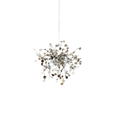 Stainless Steel Firework Hanging Light Ultra Modern 1 Light Chandelier in Silver Finish