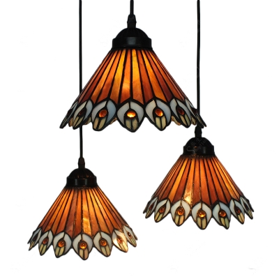 Triple Head Peacock Pendant Light Tiffany Vintage Style Adjustable