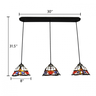 Triple Heads Floral Lighting Fixture Tiffany Retro Style Stained Glass