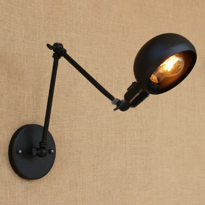 Beautifulhalo coupon: 1 Bulb Arm Adjustable Wall Sconce Retro Style Iron Lighting Fixture in Black for Study Room