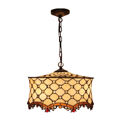 3 Head Cake Shade Pendant Light Tiffany Style Stained Glass Drop Light in Beige with Chain