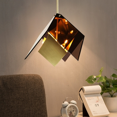 3-Light Geometric Drop Light Amber Post Modern Glass Shade Hanging Lamp for Bar Cafe Counter