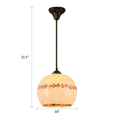 Mosaic Suspension Light Tiffany Modern Small Shelly 1 Head Drop Light in Beige for Foyer
