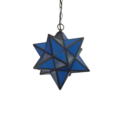 Multi Color Star Shade Suspended Light Tiffany Stained Glass 1 Light Hanging Light for Bedroom