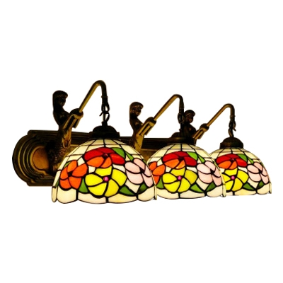 Brass Finish Floral Wall Sconce Vintage Stained Glass Triple Heads Mermaid Lighting Fixture