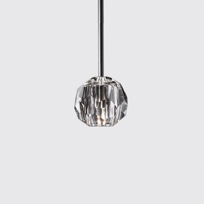 Crystal 1 Light Pendant Lamp in Antique Brass/Chrome/Black Finish Post Modern Style Suspension Light
