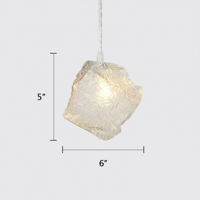 Hand Blown Glass Shade Suspension Lamp Simple Style Clear Pendant Lights for Cafe Bar Restaurant
