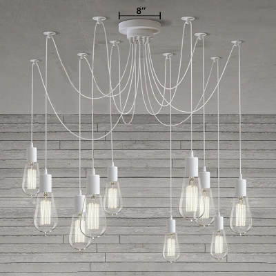 Industrial Multi Light Pendant in White Finish 10 Light Swag Chandelier for Living Room Restaurant Clothes Stores