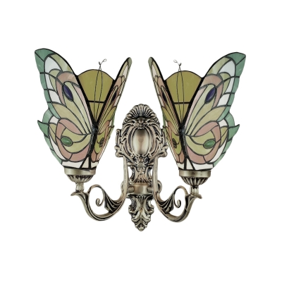 Multicolored Butterfly Shaped Wall Sconce with Tiffany Stained Glass Shade, 2-Light