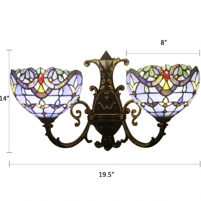 Navy Blue Bowl Wall Light Sconce Tiffany Victorian Stained Glass Double Heads Wall Light