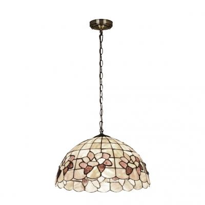 Shelly Hanging Light Tiffany Style Metallic 1 Bulb Ceiling Pendant Light in Beige