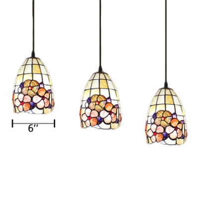 Shelly Suspension Light Tiffany Style Metal Triple Light Accent Pendant Light for Restaurant