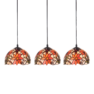 Stained Glass Flower Pendant Lamp Tiffany Style Triple Light Drop Light for Coffee Shop