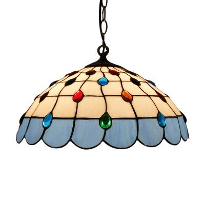 Tiffany Style Dome Ceiling Pendant Light Glass 1 Light Drop Light in Dark Blue/Green/Light Blue/Pink