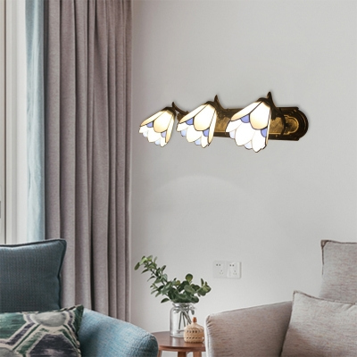 Tiffany Style Petal Wall Sconce Stained Glass Triple Light Wall Lighting in White for Foyer